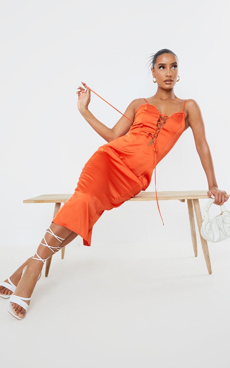 Orange Satin Lace Up Strappy Midi Dress 3