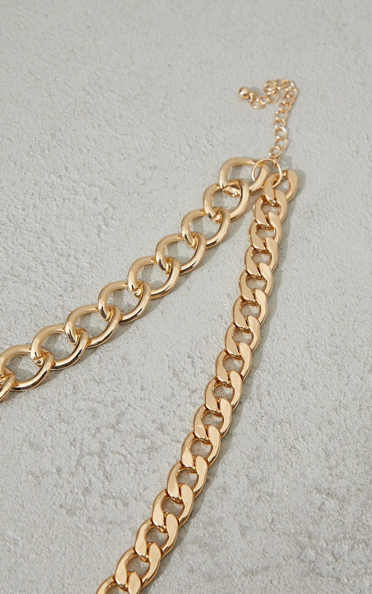 Gold Double Layered Chunky Chain Necklace 4