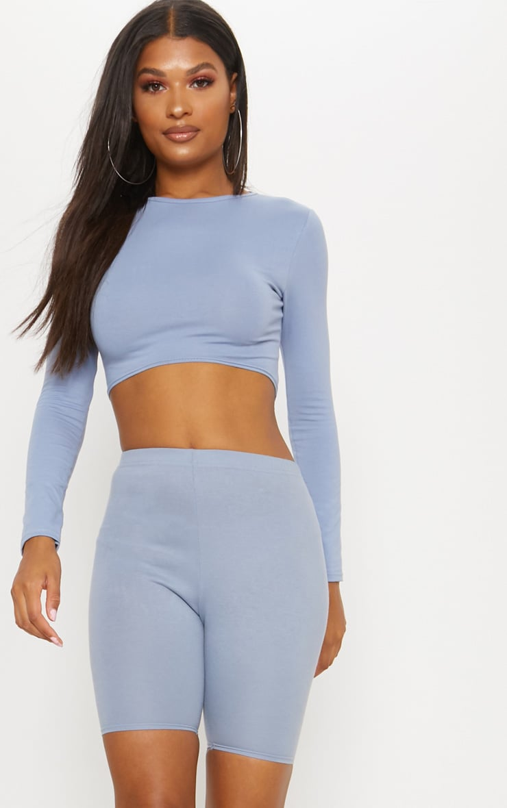Charcoal Blue Curved Hem Long Sleeve Crop Top  1