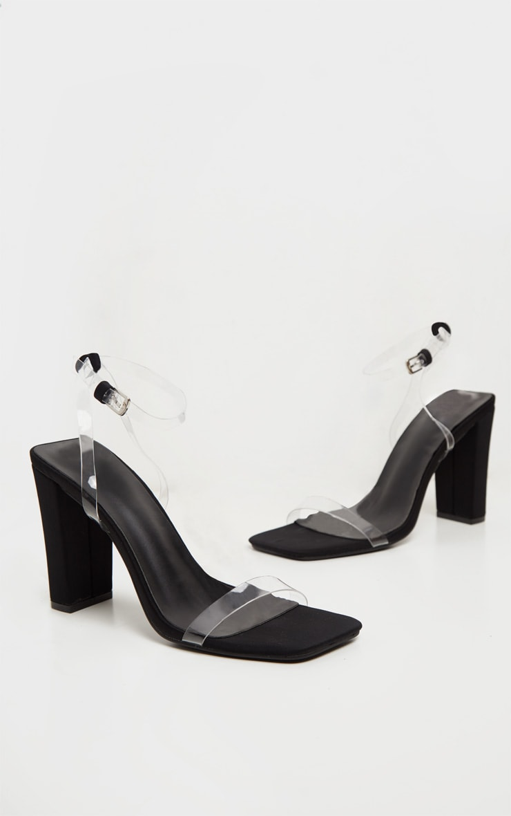 Black Flat Block Heel Square Toe Clear Strap Sandal 4