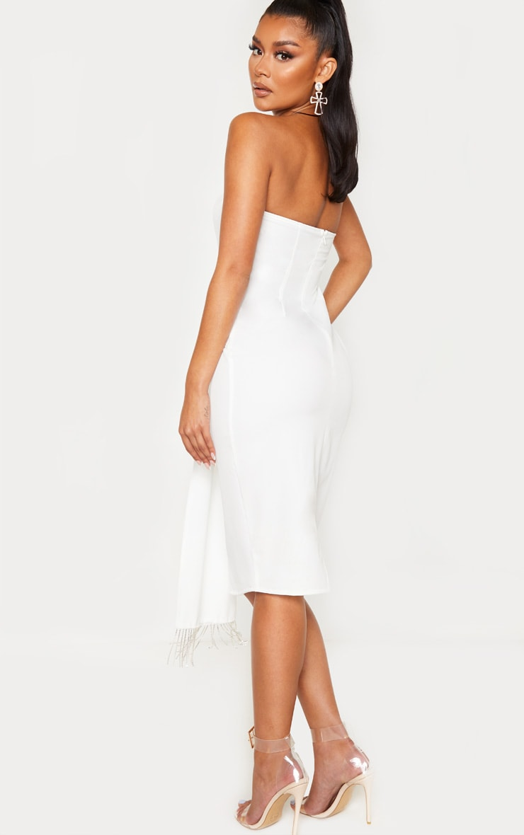 White Jewelled Tassel Bandeau Drape Midi Dress 2