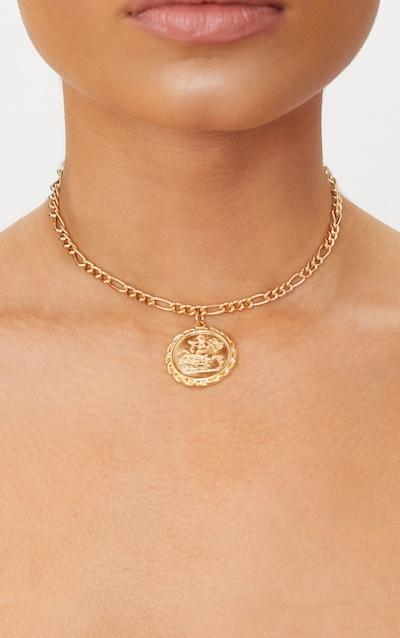 Gold Renaissance Ancient Numerals Pendant Necklace Pretty Little Thing JA72zJCg