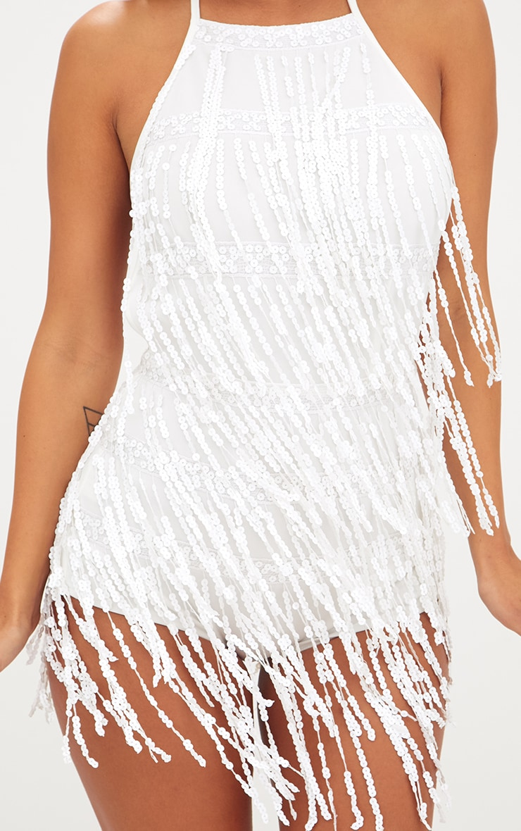 White Sequin Tassel Playsuit 5