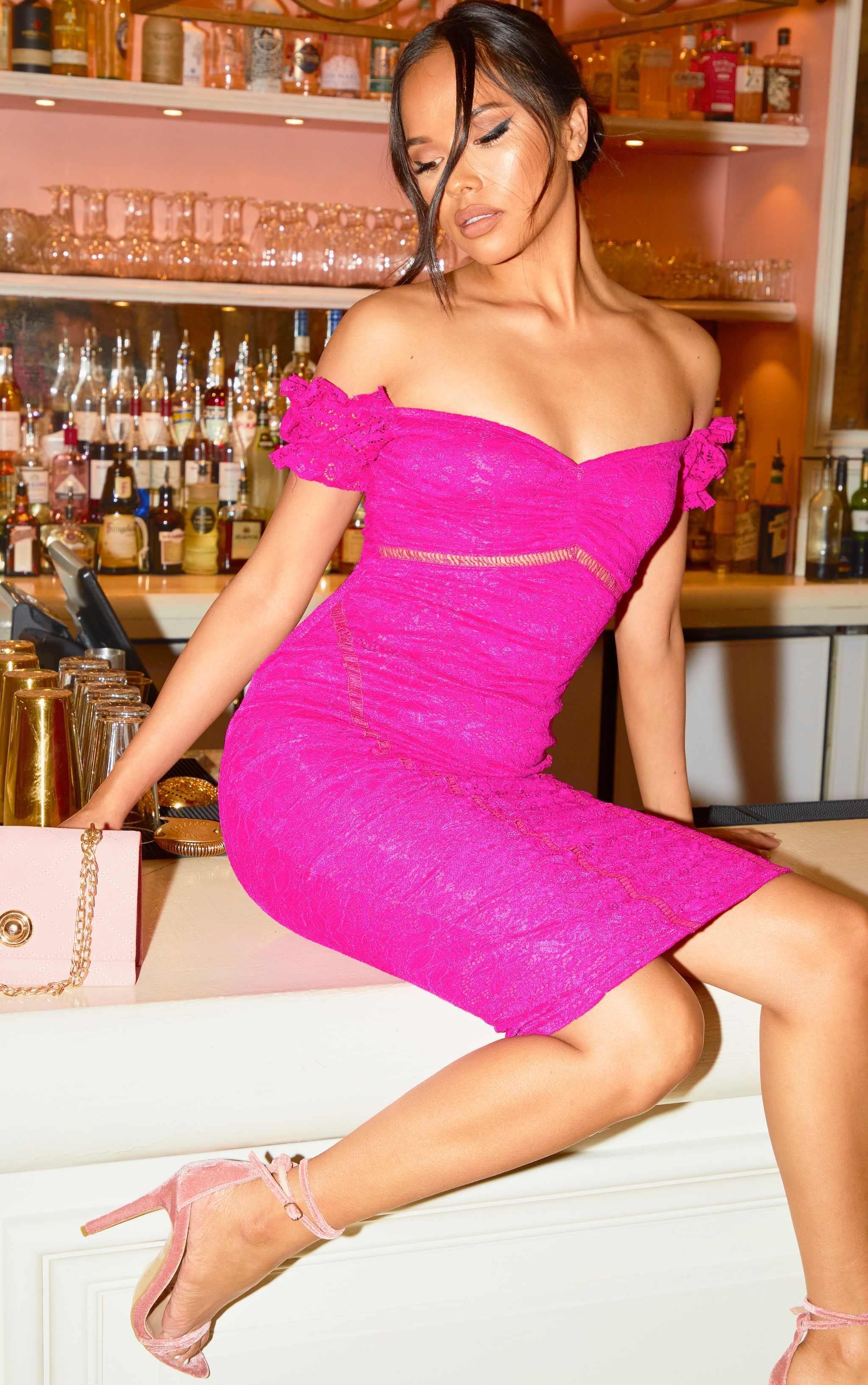 Fuchsia Lace Bardot Ladder Detail Midi Dress 1