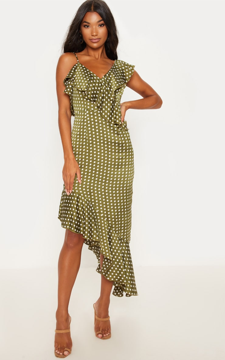 Sage Green Polka Dot Asymmetric Hem Maxi Dress