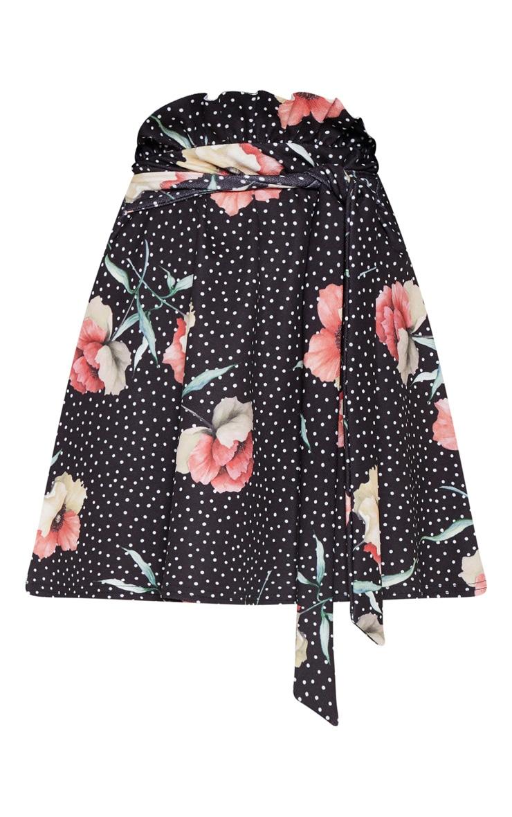 Black Printed Tie Waist A Line Mini Skirt 3