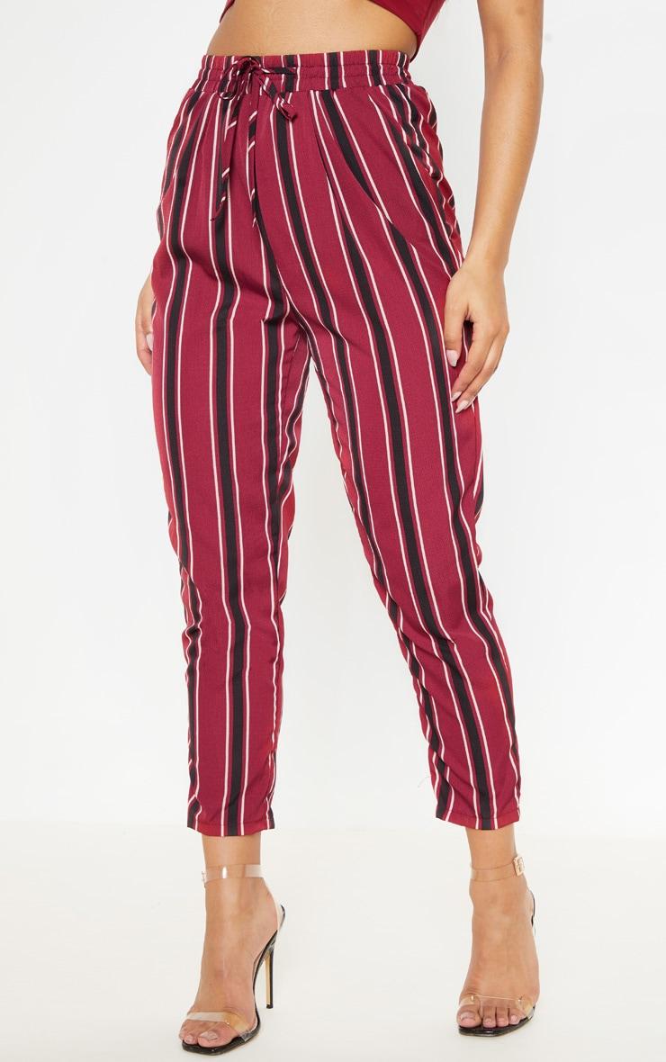 Pantalon décontracté à rayures bordeaux 2