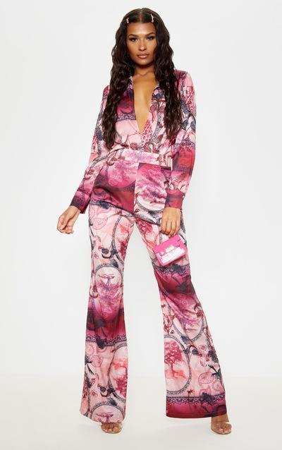 Pink Oriental Print Wide Leg Trouser
