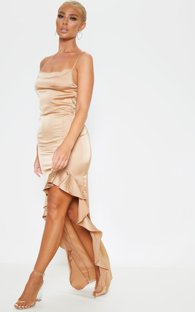 Gold Cowl Neck Frill Hem Maxi Dress 4