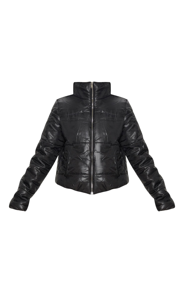 Black High Shine Cropped Puffer Jacket 3
