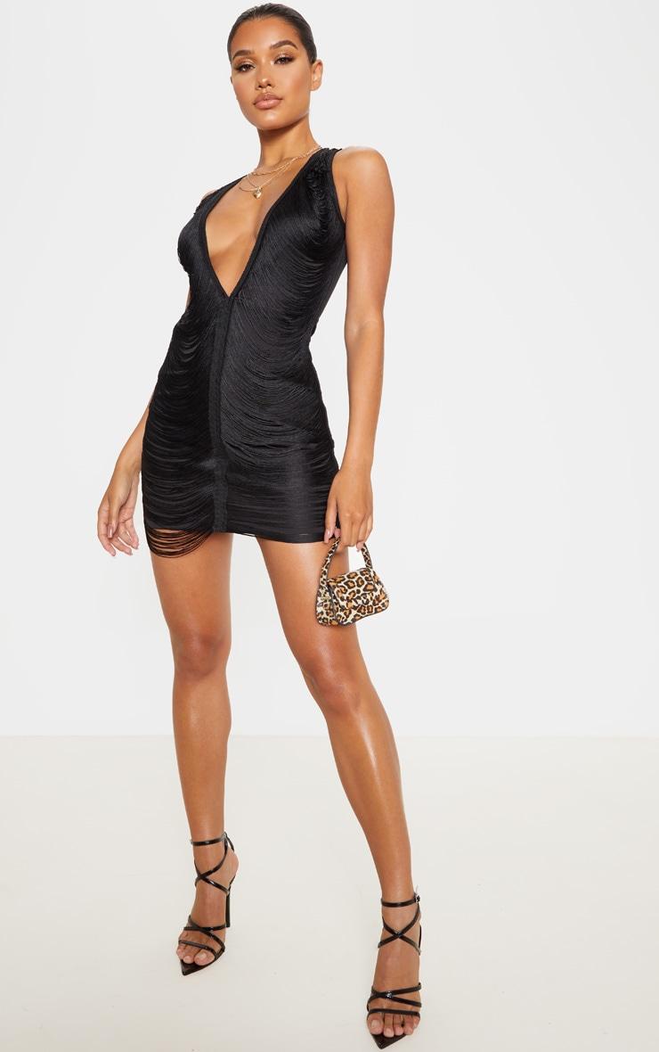 Black Extreme Plunge Tassel Bodycon Dress 4