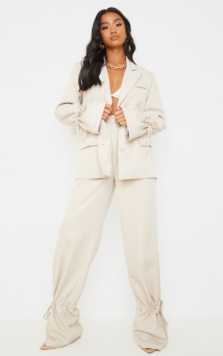 Petite Stone Oversized Tie Cuff Suit Blazer 3