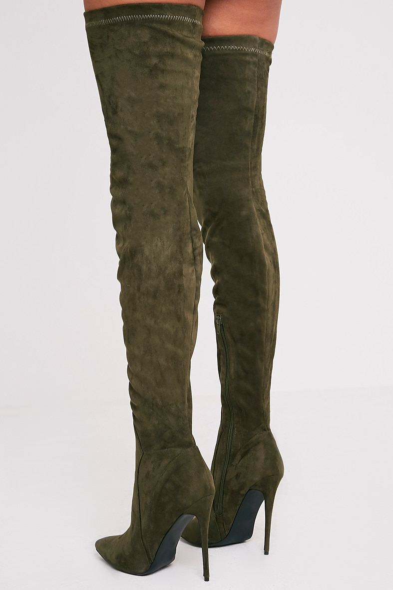 Emmie Khaki Faux Suede Extreme Thigh High Heeled Boots 4