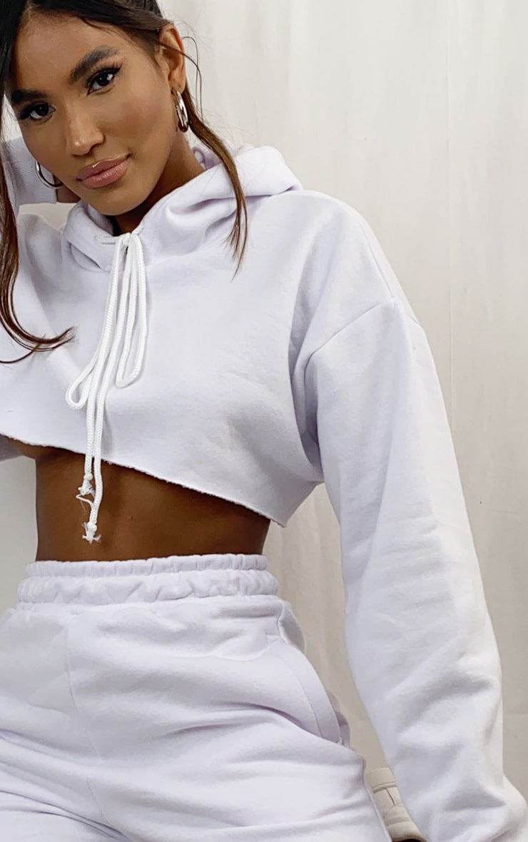 White Extreme Raw Edge Cropped Hoodie 3