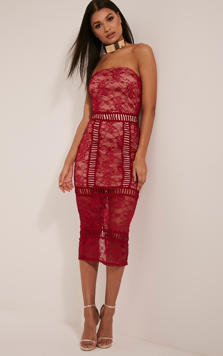 Megan Red Ladder Panel Lace Midi Dress 5