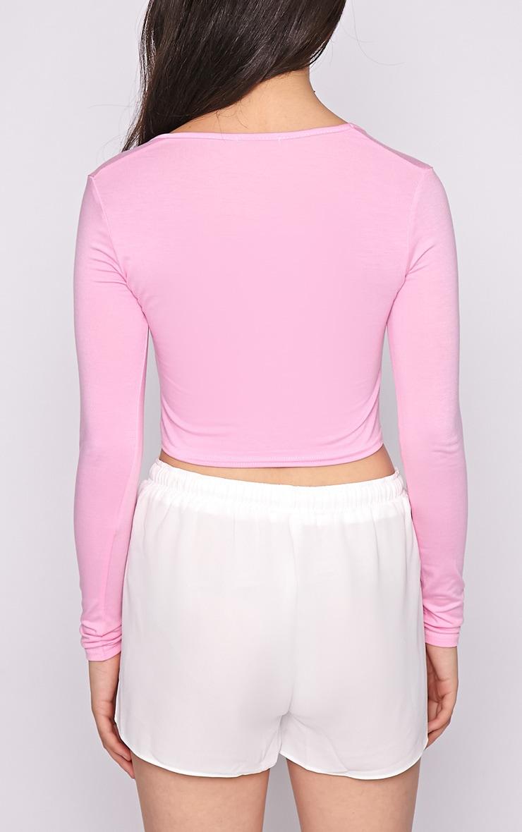 Suzy Pink Long Sleeved Crop Top  2