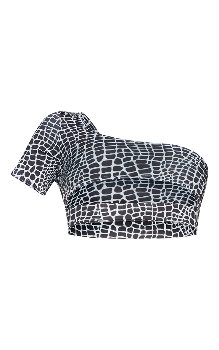 Monochrome Snake Elasticated Cut Out One Shoulder Bikini Top 5