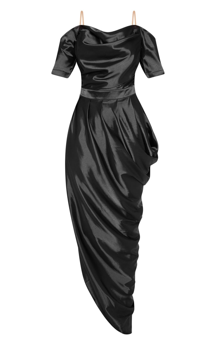 Black Satin Ruched Asymmetric Hem Maxi Dress 3