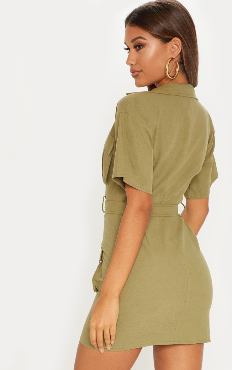 Khaki Cargo Utility Gold Buckle Pocket Detail Bodycon Dress 2