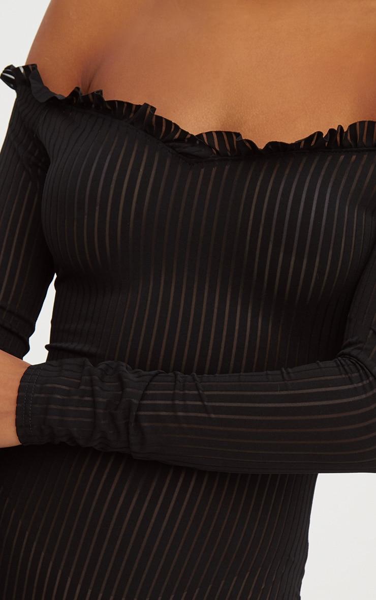 Black Mesh Stripe Bardot Long Sleeve Thong Bodysuit 6