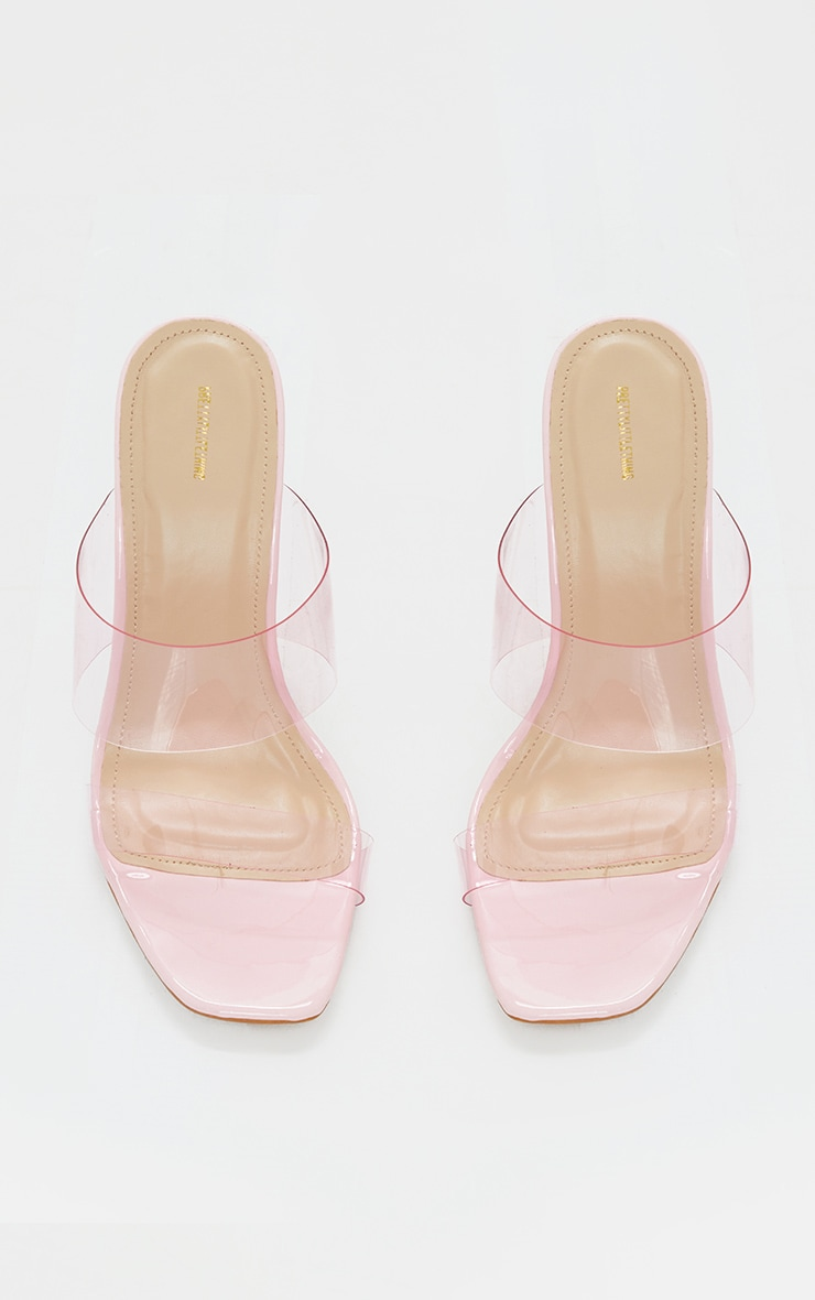 Pink Wide Fit Tinted Clear Twin Strap Mule Heels 3