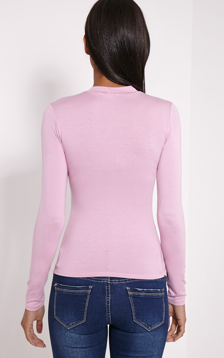 Basic Mauve Turtle Neck Jersey Top 2