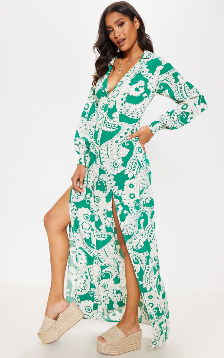Green Paisley Print Split Front Maxi Shirt Dress 3