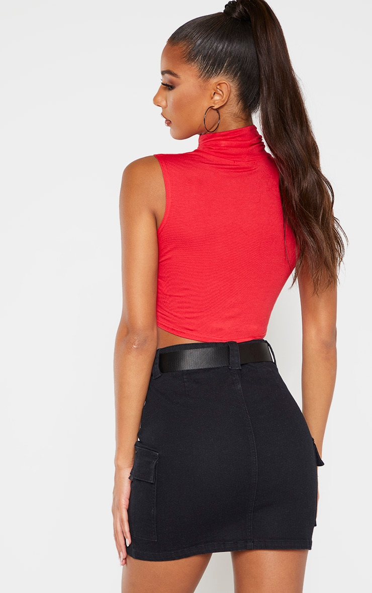Basic Red Jersey Roll Neck Sleeveless Crop Top 2