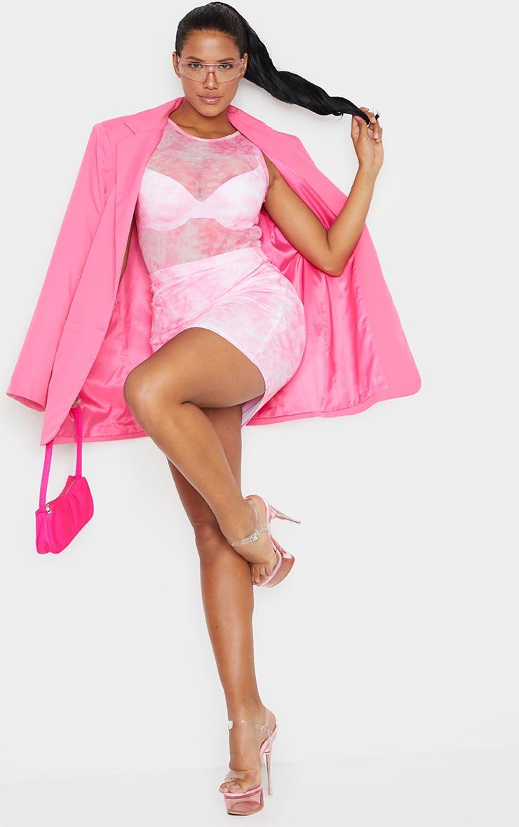 Shape Pink Tie Dye Mesh Bodycon Skirt 1