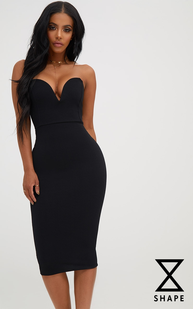 Shape Black Plunge Midi Dress