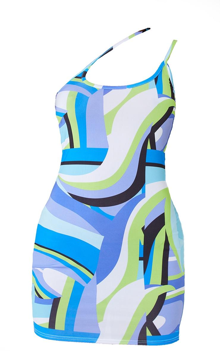 Robe moulante asymétrique bleue imprimé abstrait slinky détail bretelles 5