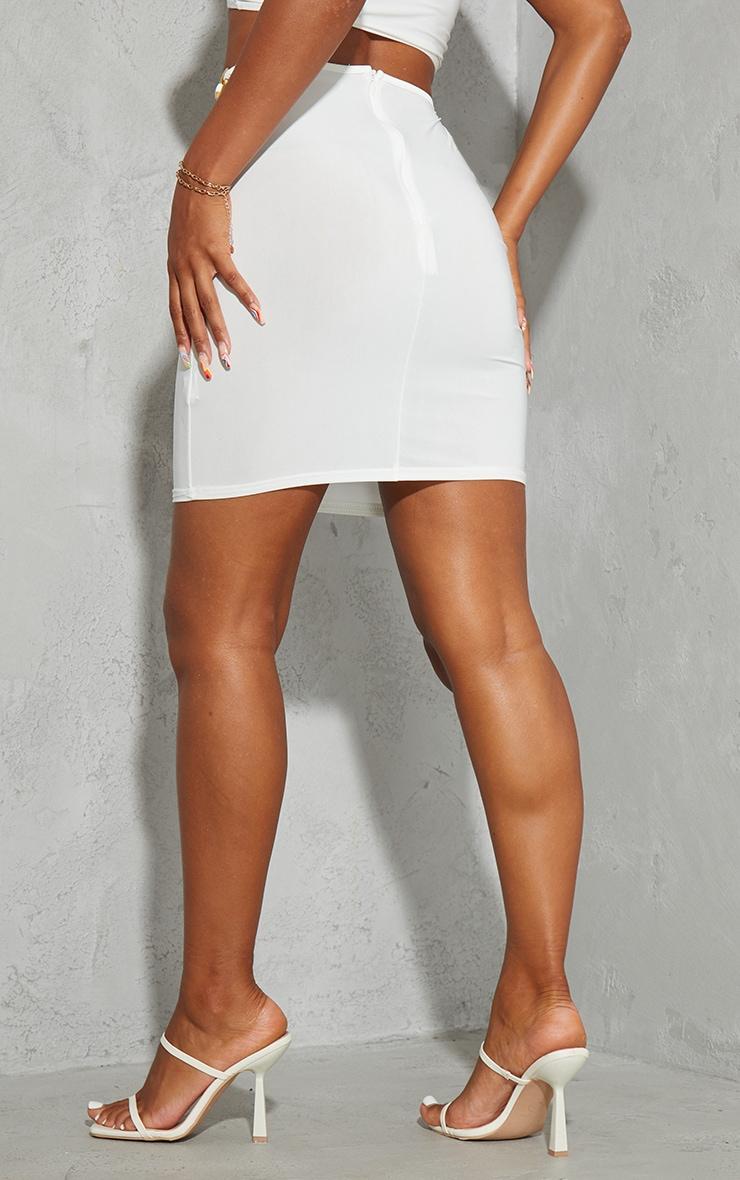 Cream Slinky Cut Out Waist Mini Skirt 3