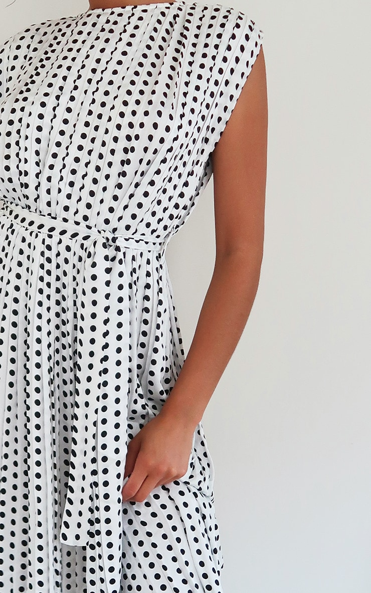 White Polka Dot Pleated Sleeveless Midi Dress 4
