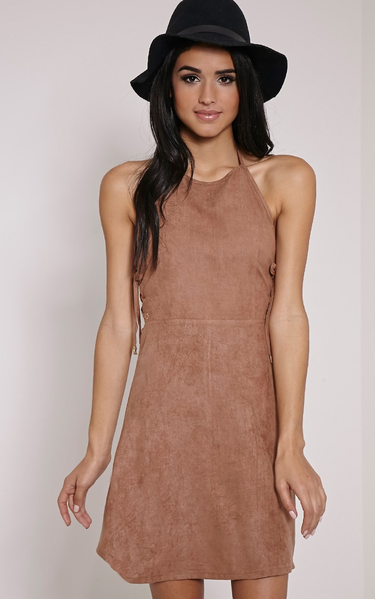 Heaven Tan Faux Suede Side Eyelet Mini Dress 1