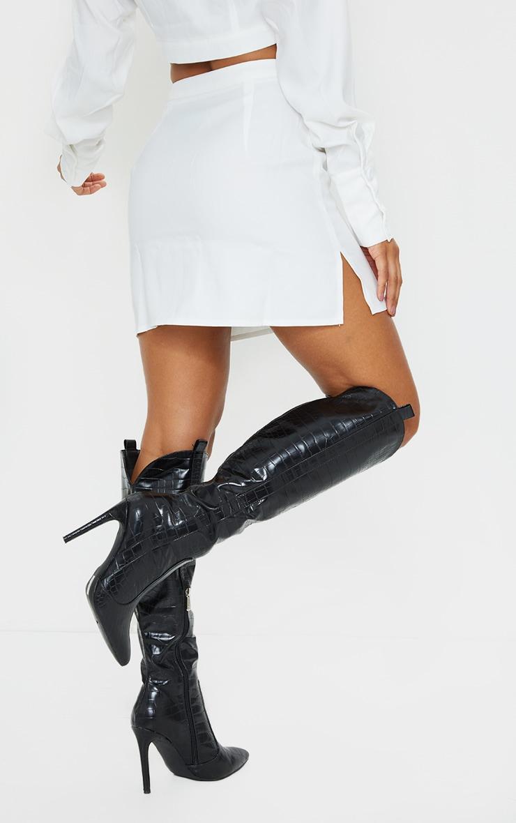 White Button Front Extreme Mini Skirt 3