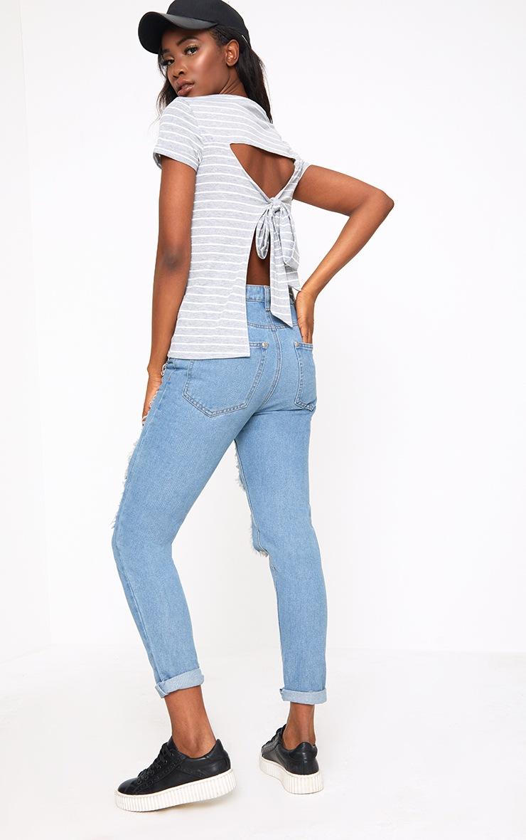 Grey Marl Stripe Open Back T Shirt 4