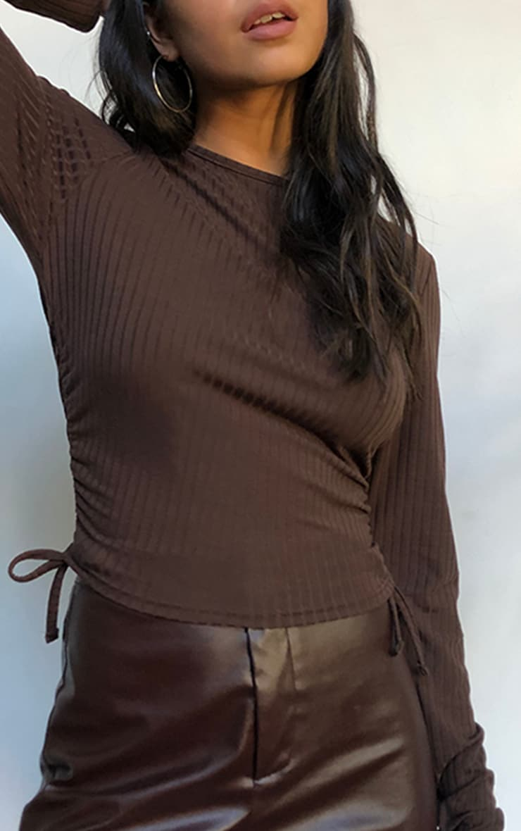 Chocolate Ruched Side Rib Sleeve Top 4