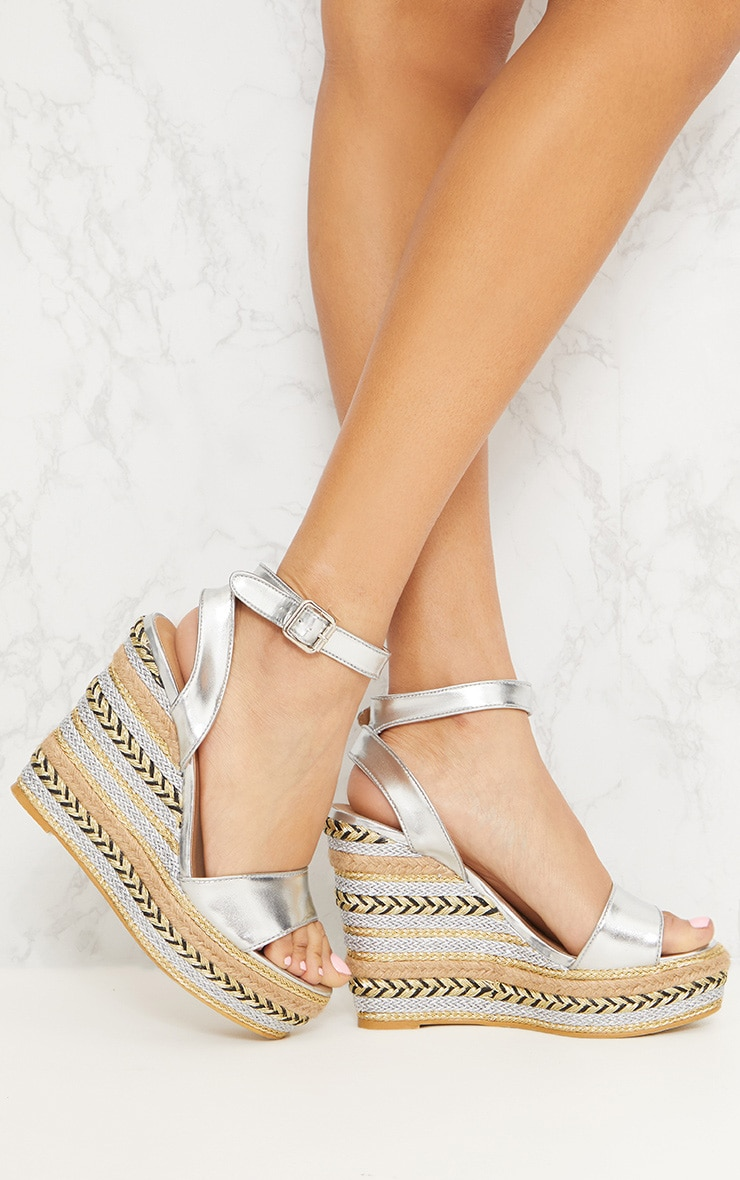 Silver Metallic Espadrille Wedge Sandal 1