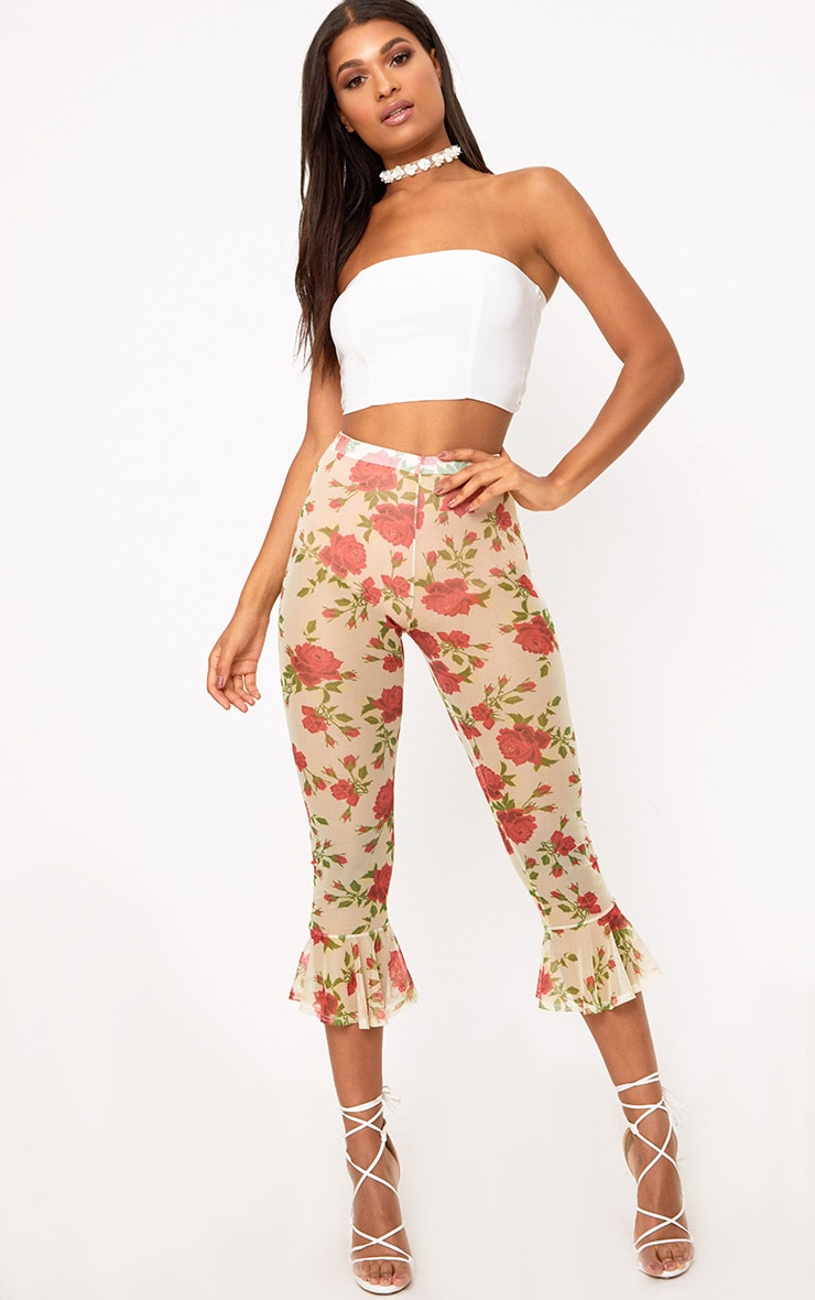 Cream Embroidered Printed Mesh Frill Hem Crop Trousers 1