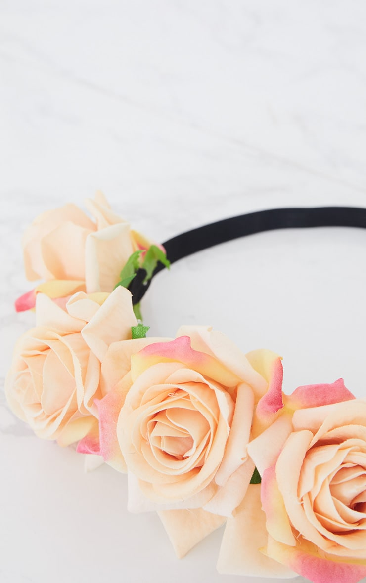 Orange Floral Elasticated Headband 4