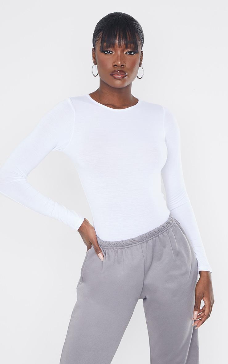 Tall - Body basique blanc à manches longues et col ras-du-cou 1
