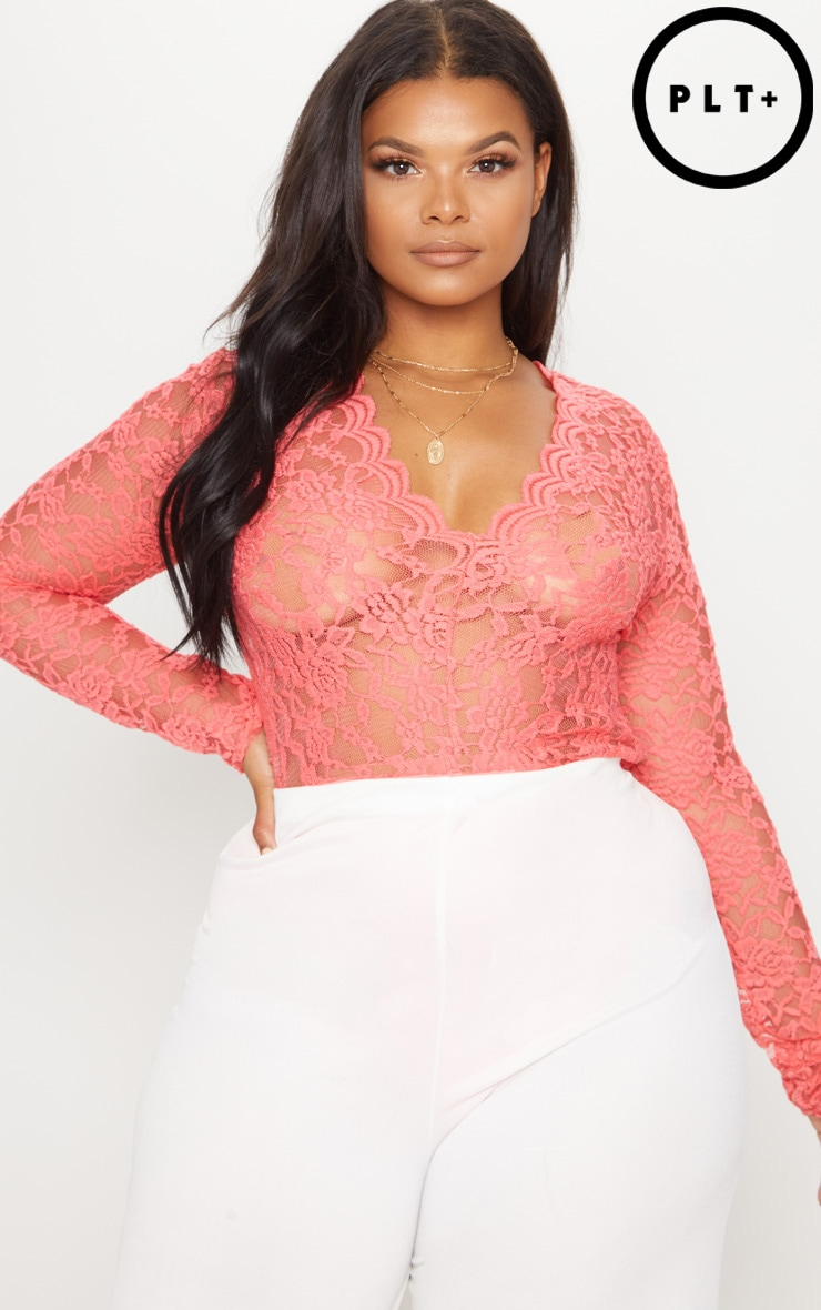 Plus Coral Sheer Lace Plunge Long Sleeve Bodysuit 1