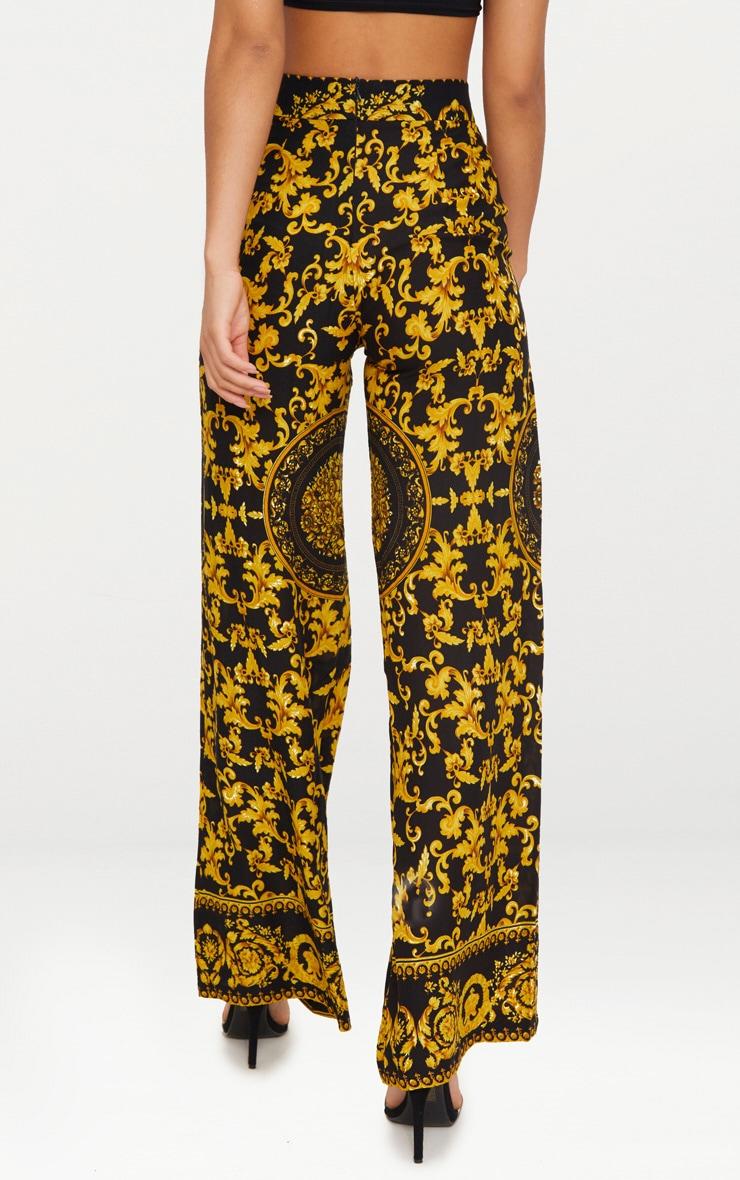 Black Woven Scarf Print Trousers 4