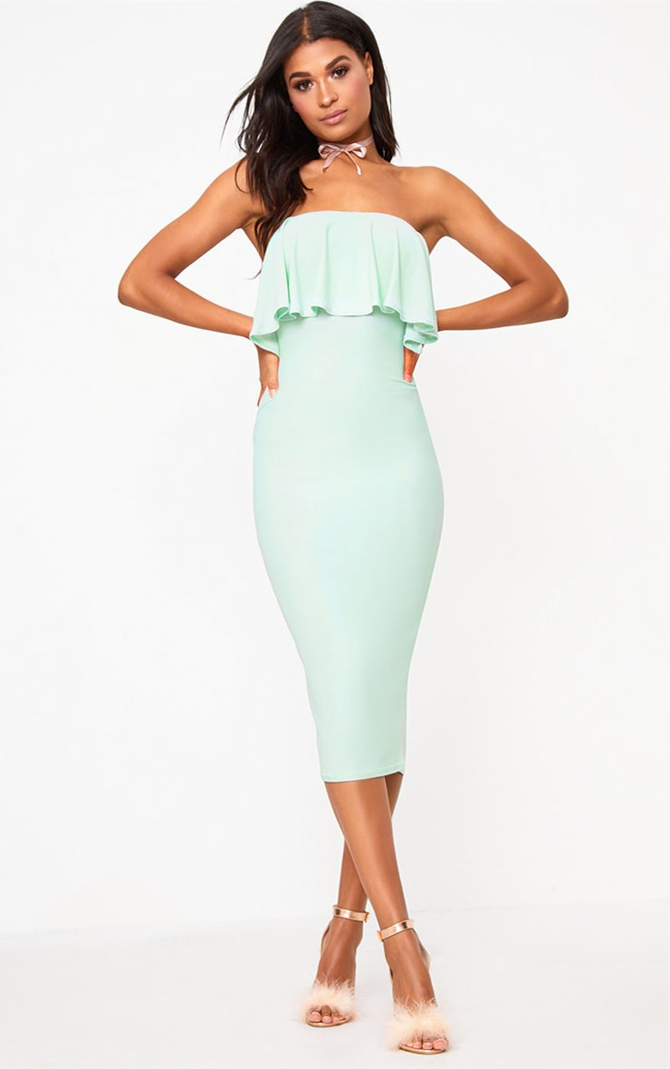 Sage Green Frill Bandeau Midi Dress  4