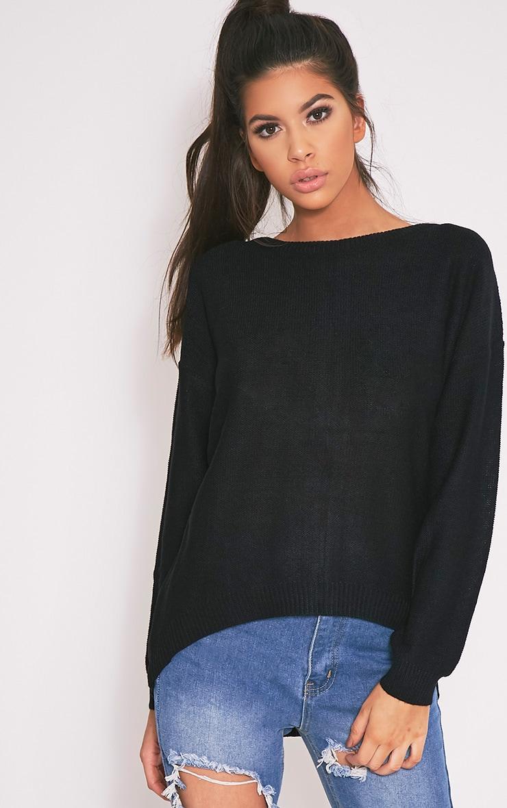 Hadiya pull tricoté à fermeture éclair au dos noir 1