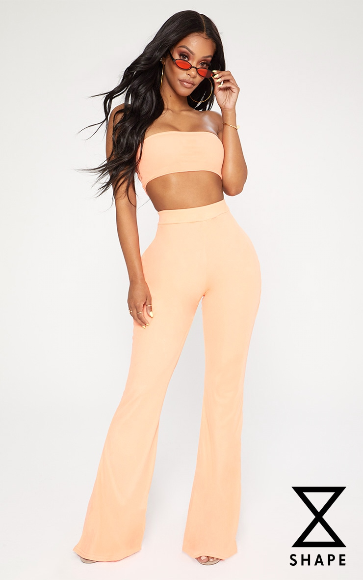 Shape Neon Coral Mesh Flared Trousers