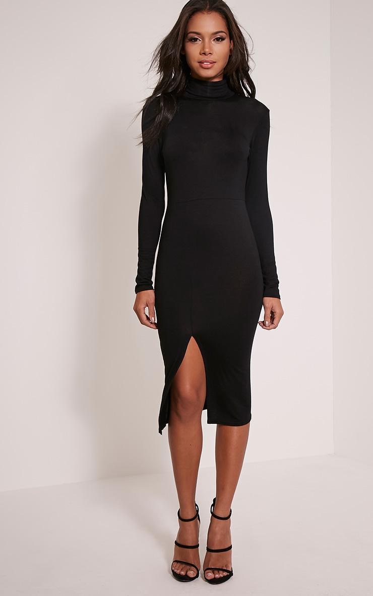 Sharia Black Jersey Roll Neck Split Midi Dress 4