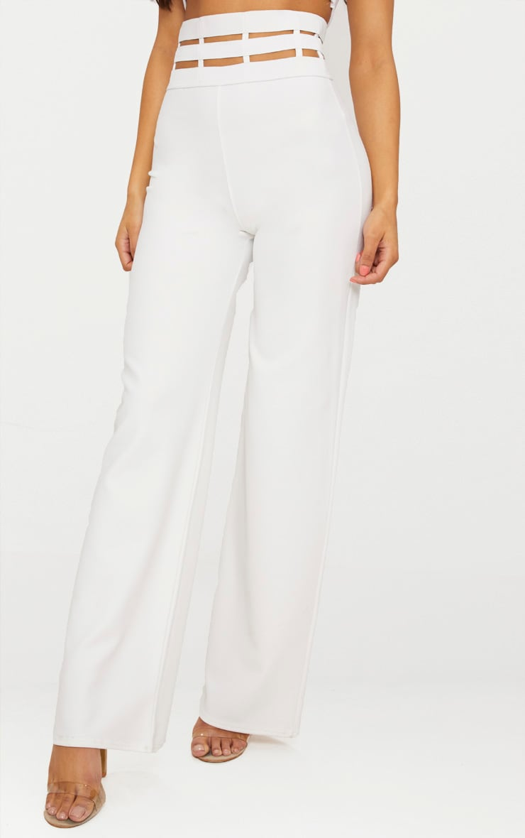 Cream Elastic Cage Detail Wide Leg Trouser 2