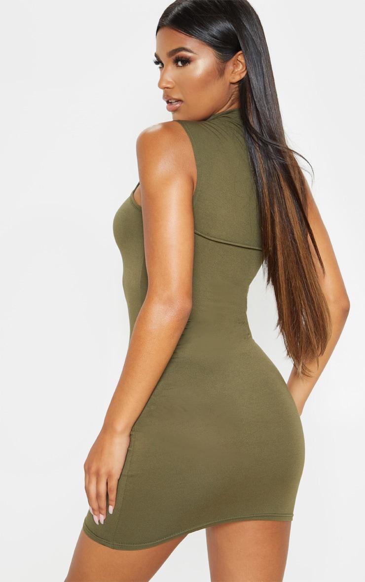 Khaki High Neck Cut Out Sleeveless Bodycon Dress 2