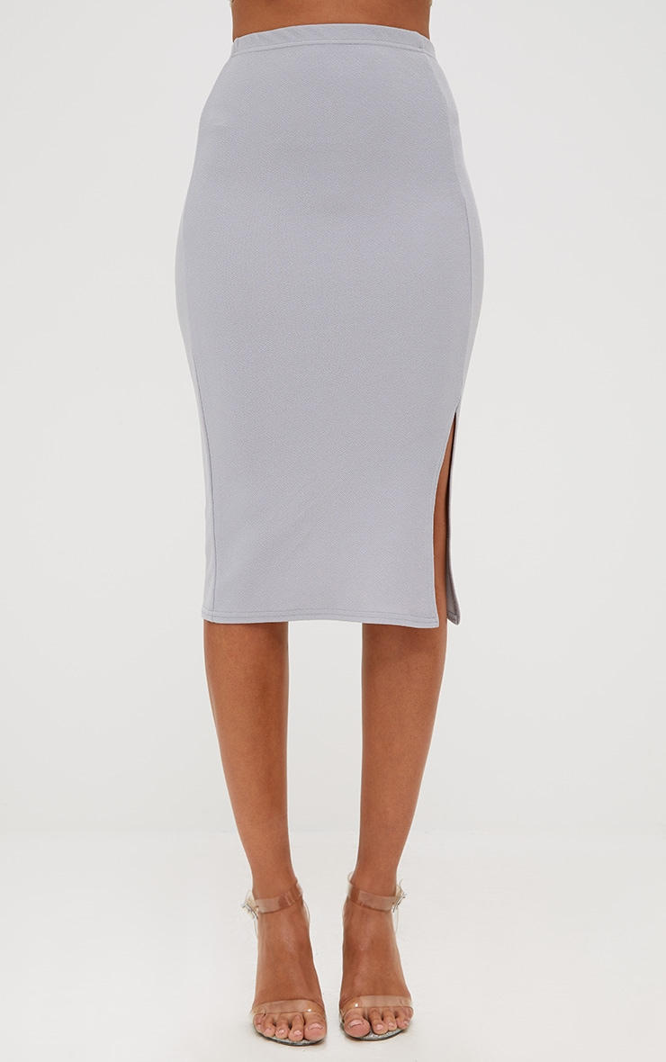 Grey Basic Split Midi Skirt 2